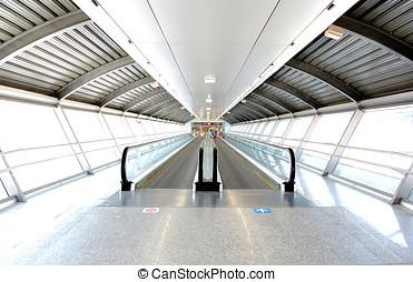 tunnel, aéroport, mécanique, passage