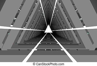 tunnel, abstrakt, .3d, illustration, 3