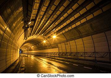 Tunnel at night