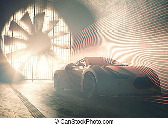 tunnel, auto, begriff, wind