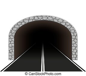 tunnel, auto, vector, illustratie