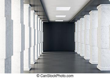 tunnel, béton, clair, intérieur