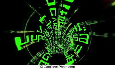 tunnel, binair, door, geleider, data