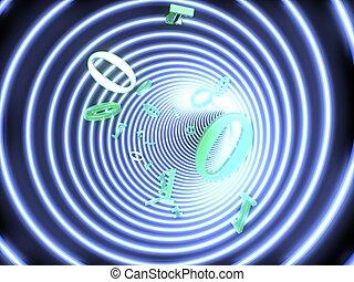 tunnel, binaire, mouches, code, brillé