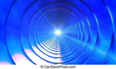 tunnel, bleu, émission, 4k, loopable, industriel, high-tech, interminable