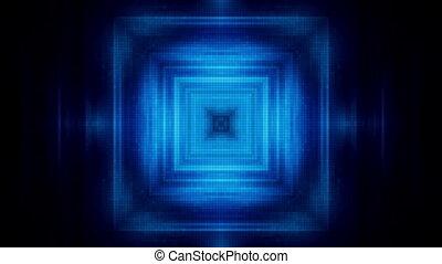 tunnel bleu, carrée, carrés, boucle