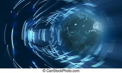 tunnel bleu, globe, rotation, lumière