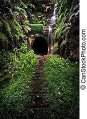 tunnel,  burg,  train