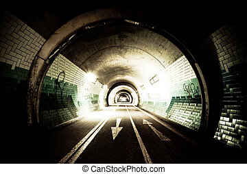 Tunnel by night - High-contrast exposure of a tunnel with...