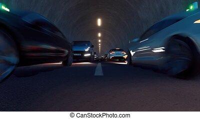 Tunnel cars Led light effect. 4k