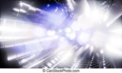 tunnel, cavalcade, ordinateur a engendré, vaisseau spatial