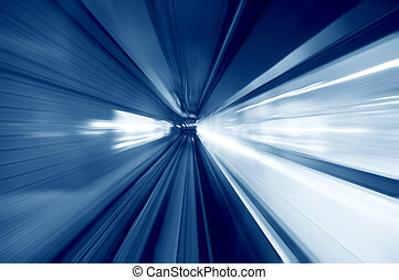 Tunnel - Moving fast into blue tunnel