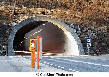 tunnel, conrete, portail, voiture