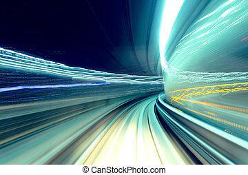 tunnel, dépassement, train, jeûne