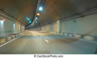 Tunnel drive, Traffic in the road tunnel, cars go through the tunnel. 4k, slow motion