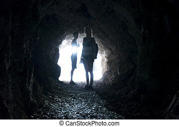 tunnel, dunkel, verwischt, leute