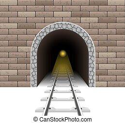 tunnel, ferroviaire, vecteur, illustration