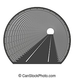 tunnel., fin, somewhere., tunnel, lumière, underground., construction, tubing., voiture métro, entrée, sortie, ou
