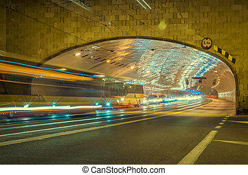 tunnel for cars in Warsaw