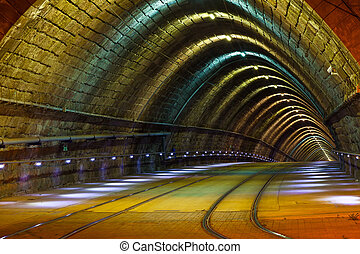 tunnel for the city tram at nigh