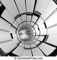tunnel, formes, résumé, argent, futuriste