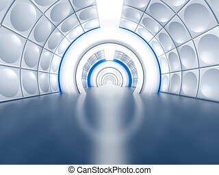 tunnel, futuriste, aimer, couloir, vaisseau spatial
