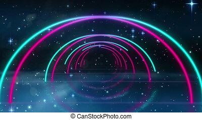 tunnel, himmelsgewölbe, geometrisch, multi, glühen, sternen...