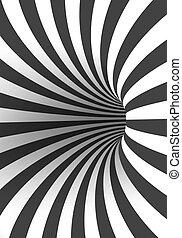 tunnel, illusione, spirale, torto, forma, vortice, vettore, ...