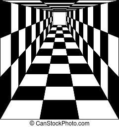 tunnel., illustration., astratto, fondo, vettore, scacchi,...