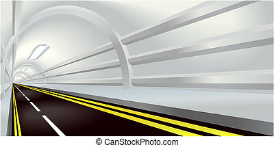Illustration of perspective view down a road tunnel disappearing into the distance