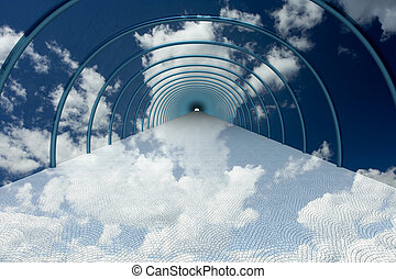 tunnel in clouds. 3D image.
