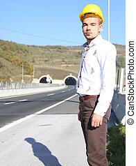 tunnel, jeune, ingénieur
