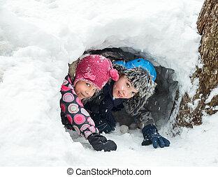 tunnel, kinder, schnee, spielende