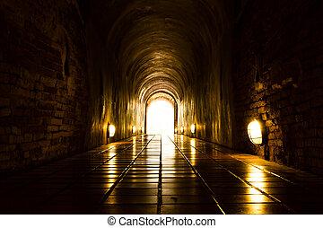 tunnel, lätt, avsluta