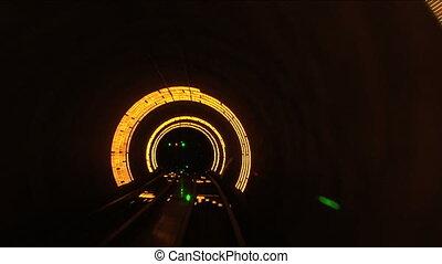 tunnel, lent, bund, bund, shanghai, volet, porcelaine, vitesse, tourisme
