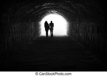 tunnel, licht, paar, ende