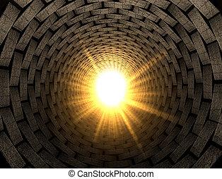 tunnel, luce, mattone, fine
