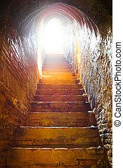 tunnel, lumière, château, fin