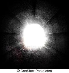 tunnel, lumière, fin