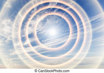 tunnel, lumière, vers, ciel, sun., religion, dieu, providence.