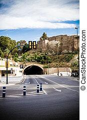 tunnel, malaga, gibralfaro, espagne
