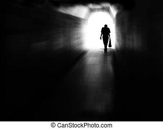 Tunnel Man Walking in Motion