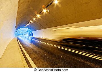 tunnel, met, lichten