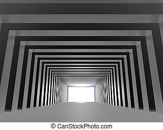 tunnel, mit, spalten, und, licht, machen, der, weg, voraus