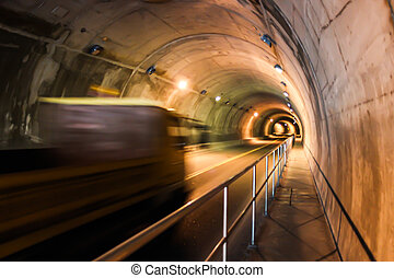 tunnel, mouvement, par, camion, aller