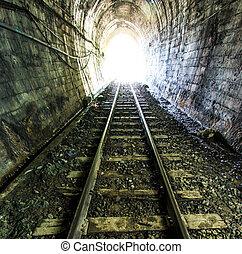 tunnel., natuurlijk licht, lighting., einde, spoorweg