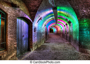 Tunnel of colored light - Lower passage tunnel at a moat in...