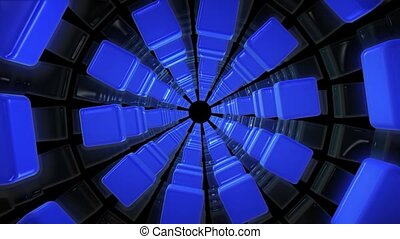 Tunnel of cubes in blue color on black