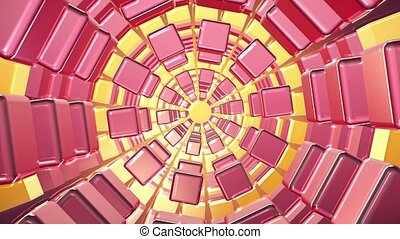 Tunnel of cubes in pink and yellow colors