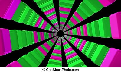 Tunnel of cubes in purple and green colors on black
